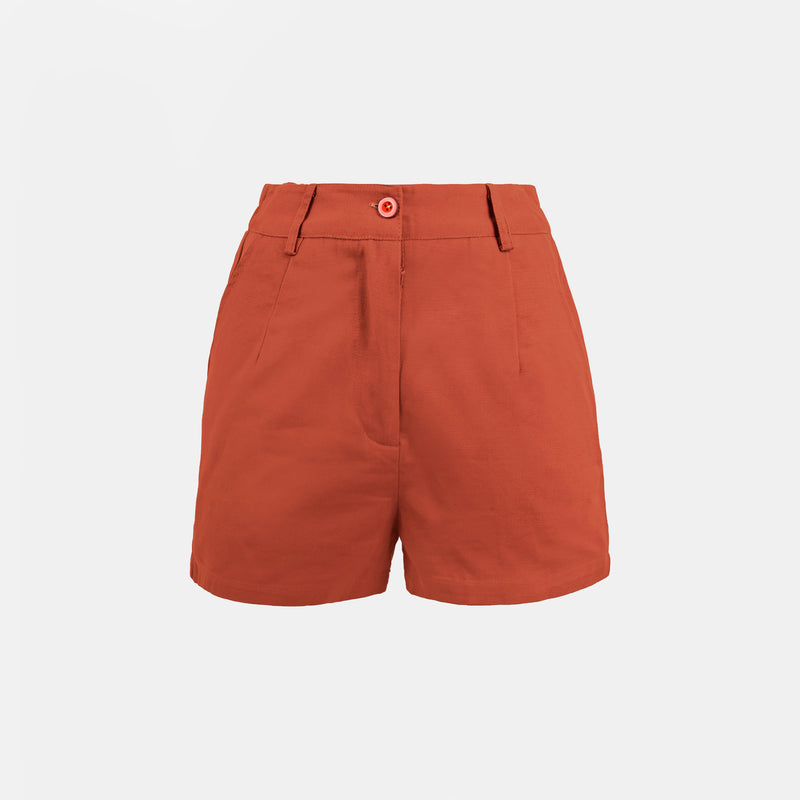 Everyday Cotton Twill Pleated Shorts (Rust)