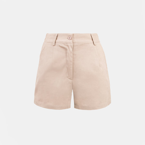 Everyday Cotton Twill Pleated Shorts (Taupe)