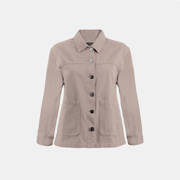 Everyday Cotton Twill Worker Jacket (Taupe)