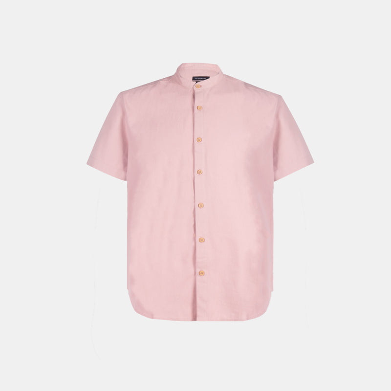 Suede Chambray Grandad Collar Shirt (Blush)