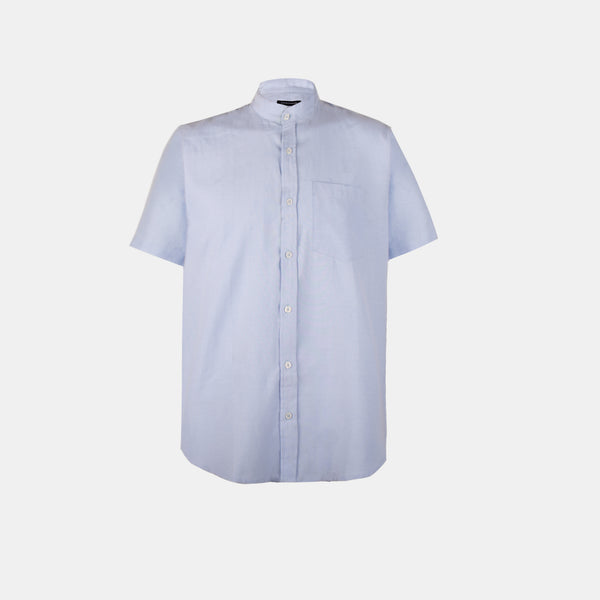 Japanese Chambray Mandarin Collar (Blue)