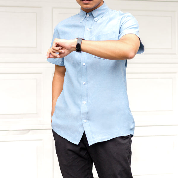 Japanese Chambray Work & Play Shirt (Powder Blue)