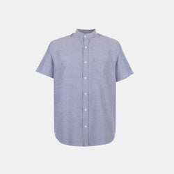 Japanese Chambray Mandarin Collar (Dark Denim)