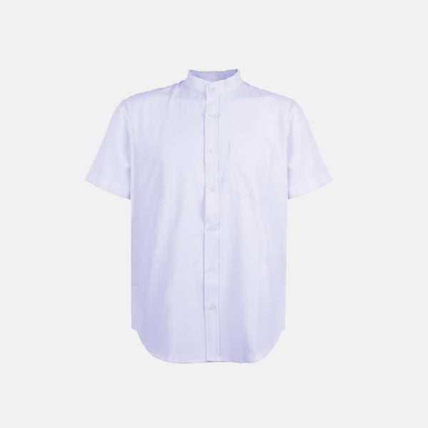 Japanese Chambray Mandarin Collar (Light Blue)