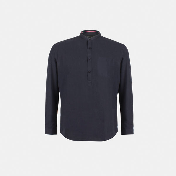 Premium Suede Chambray Button Down (Dark Blue)