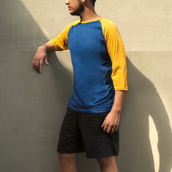 Essential Blend 2-Tone Long Sleeve Raglan (Indigo/Mustard)