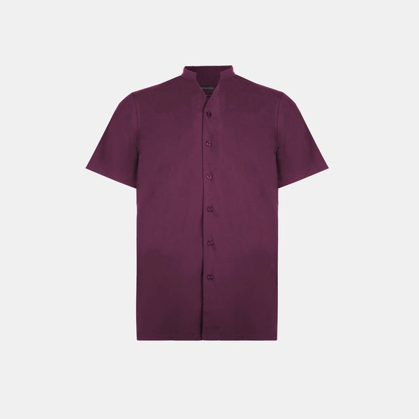 SoftBlend Mandarin Shirt (Wine)