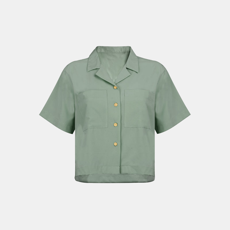 Women's Softblend Pocket Blouse (Misty Green)