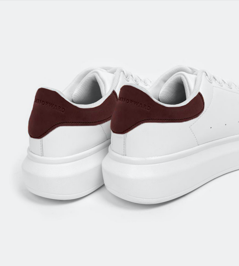 Women's Superlight White Sneakers (Maroon)