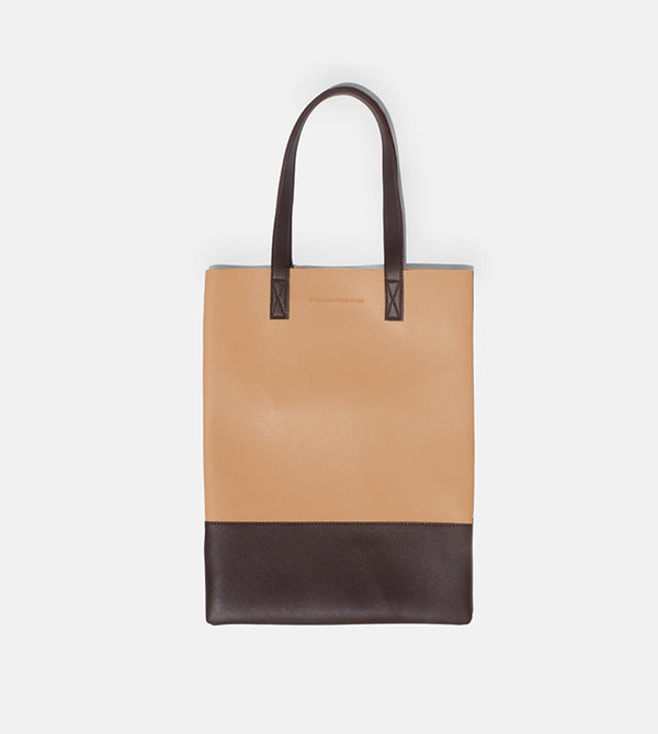 D. V. L. Portrait Two Tone Tote (Beige / Chestnut)