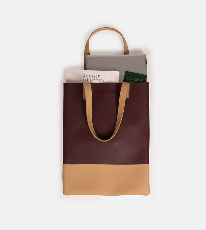 D. V. L. Portrait Two Tone Tote (Wine / Beige)