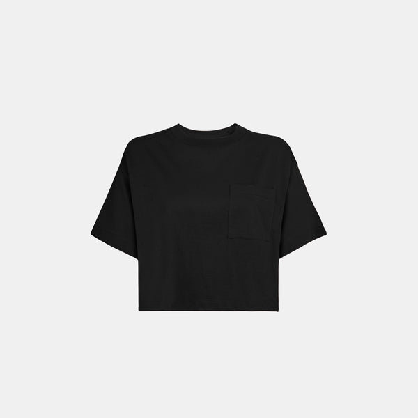 Women's Weighted Blend Boxy Pocket Tee (Black)