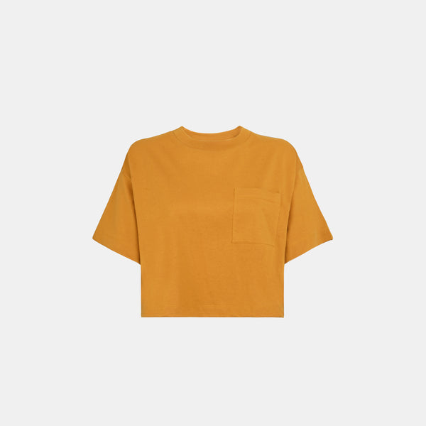 Women's Weighted Blend Boxy Pocket Tee (Mustard)
