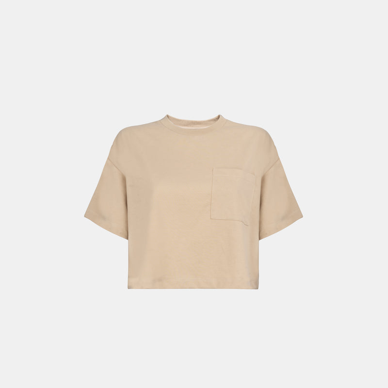 Women's Weighted Blend Boxy Pocket Tee (Wheat)
