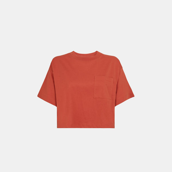 Women's Weighted Blend Boxy Pocket Tee (Rust)