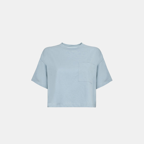 Women's Weighted Blend Boxy Pocket Tee (Whispy Blue)