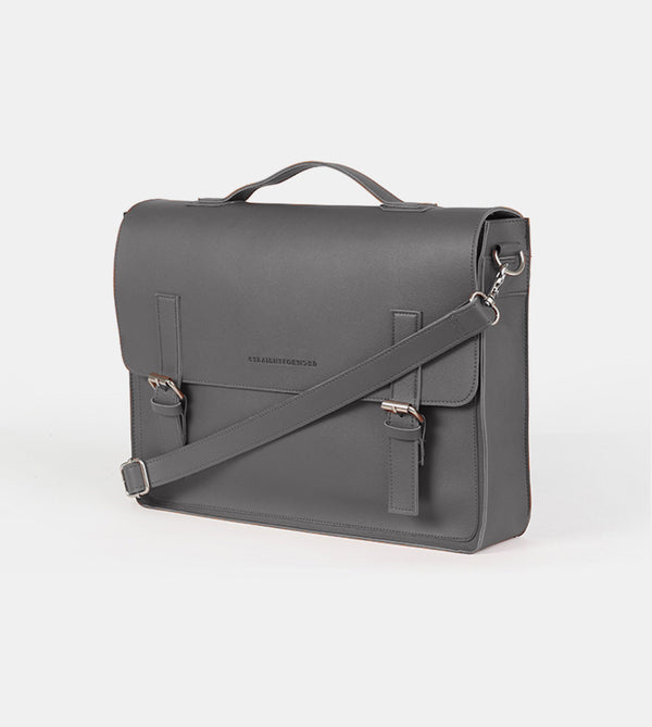 Leather Satchel Bag (Dark Gray)