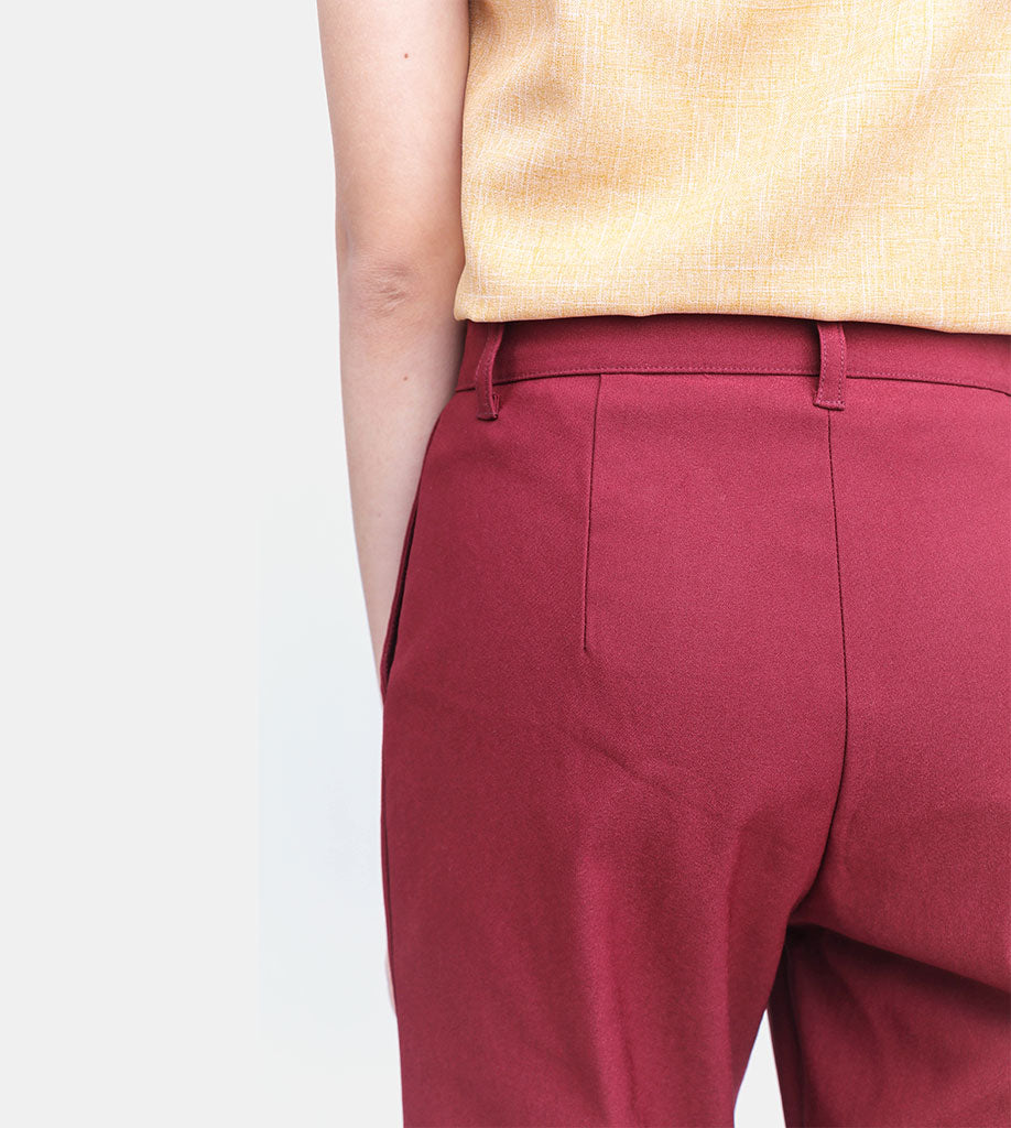 The Twill Ankle Trousers (Maroon)