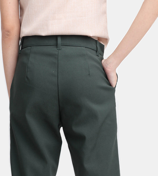 The Twill Ankle Trousers (Forest)