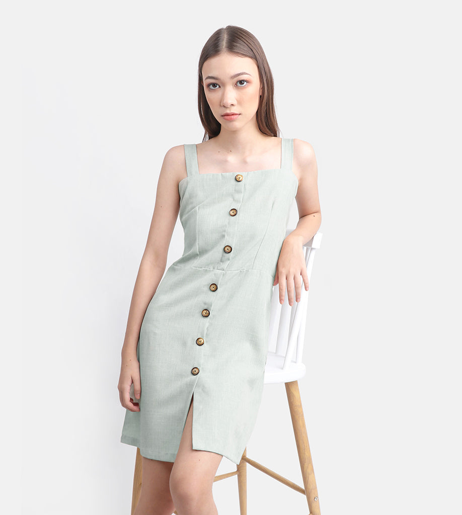 The Linen Button-Down Dress (Mint)