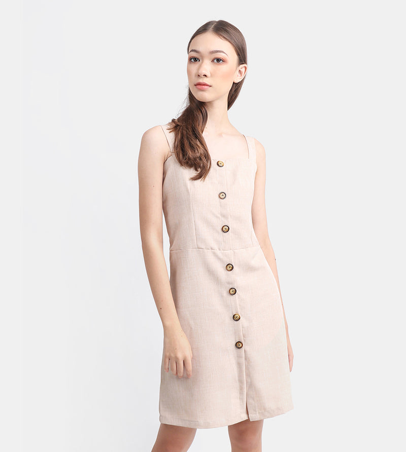 The Linen Button-Down Dress (Beige)