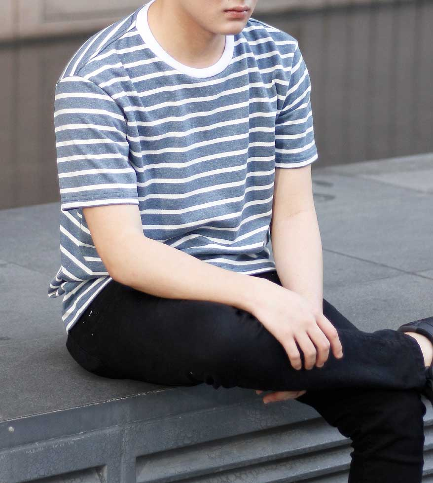 Striped Comfort Cotton Tee (Slate Blue)