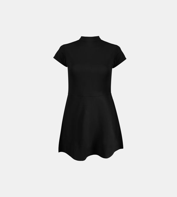 Ribbed Stretch Knit High Neck Dress (Black)