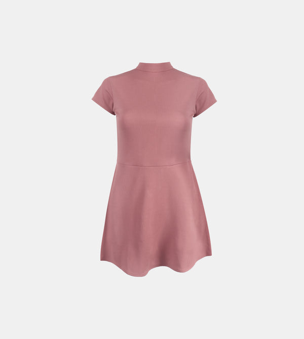 Ribbed Stretch Knit High Neck Dress (Blush)