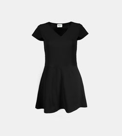 Ribbed Stretch Knit V-Neck Dress (Black)