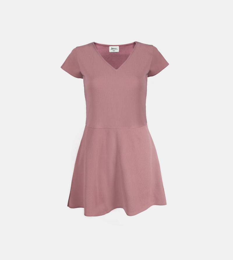 Ribbed Stretch Knit V-Neck Dress (Blush)