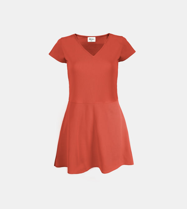 Ribbed Stretch Knit V-Neck Dress (Rust)