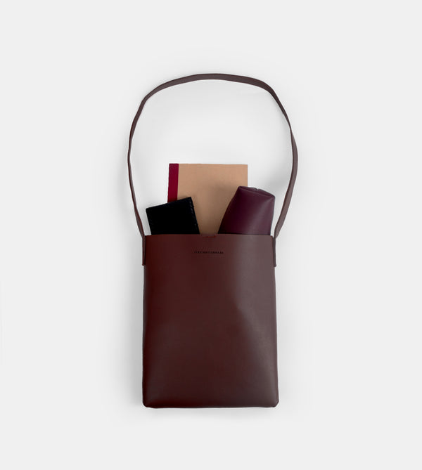 Daily Vegan Leather Tote Bag with Sling (Chestnut)