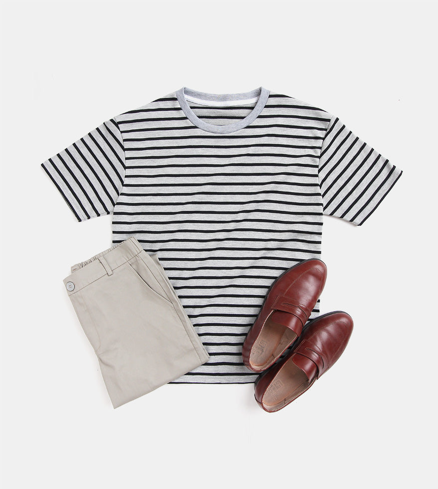 Striped Comfort Cotton Tee (Gray)