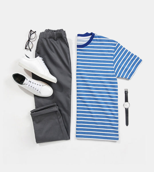 Striped Comfort Cotton Tee (Blue)