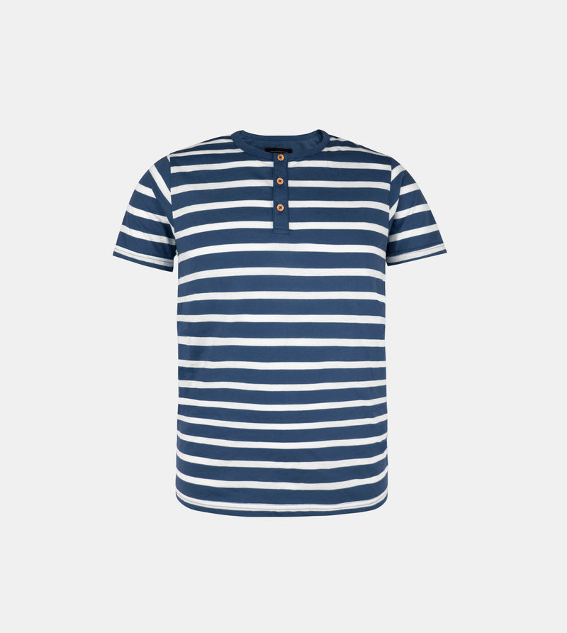 Essential Blend Striped Henley Tee (Ash Blue)
