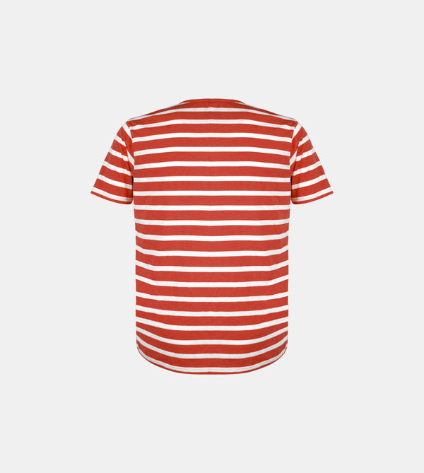 Essential Blend Striped Henley Tee (Rust)