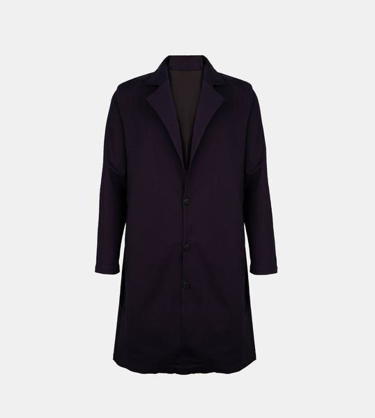Twill Weave Trench Coat (Navy Blue)