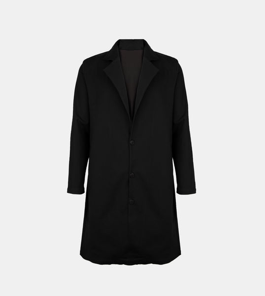 Twill Weave Trench Coat (Black)