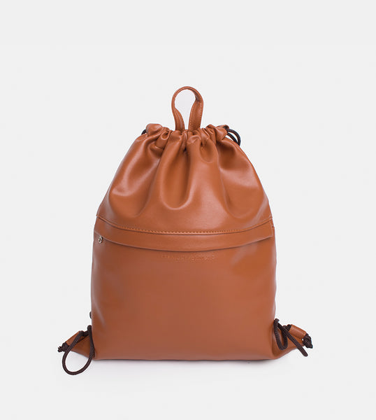 Leather Drawstring Bag (Tan) - Product Shot