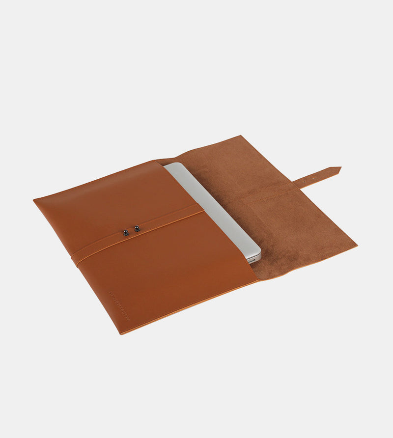 Elegant Laptop Case (Tan) - Flatlay