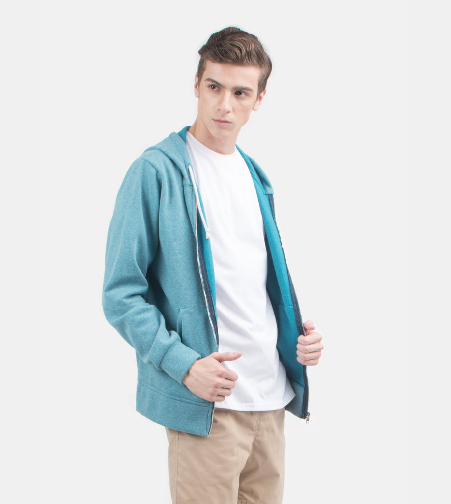 Zip Hoodie (Ocean Blue) - Model Shot