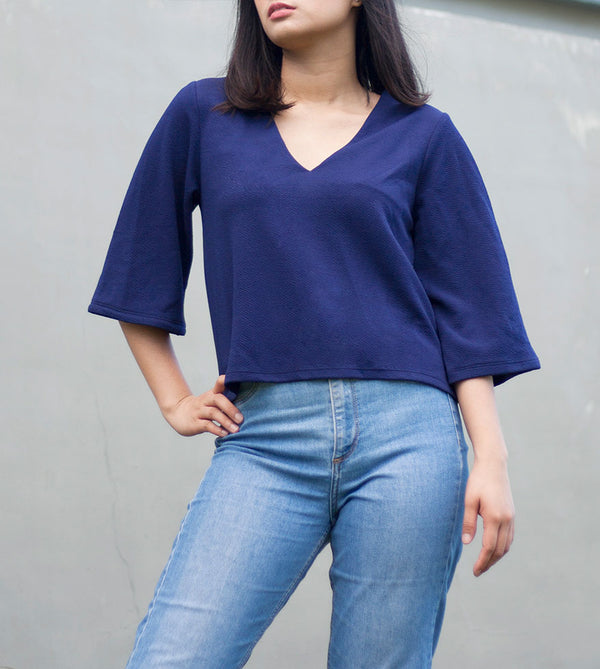 V-Neck Blouse (Navy Blue) - Detailed