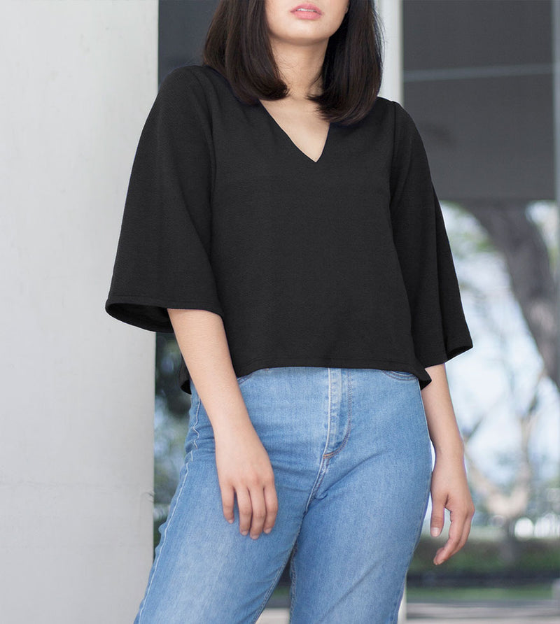 V-Neck Blouse (Black) - Detailed