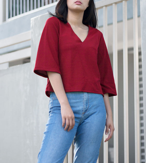 V-Neck Blouse (Maroon) - Detailed