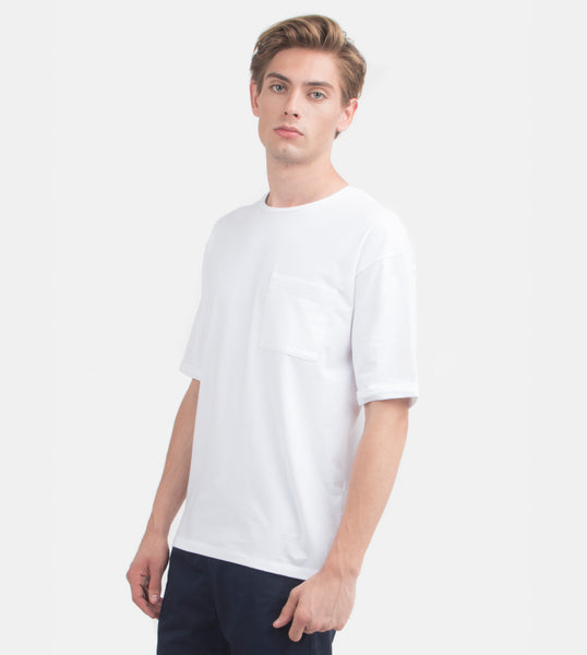 Folded Pocket Tee (White) - Model Shot