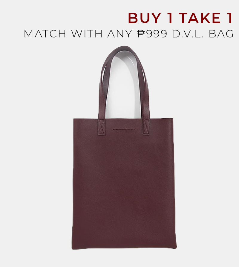 Daily Vegan Leather Portrait Tote Bag (Wine)