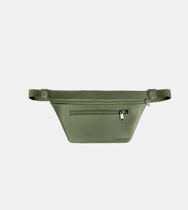 Daily Vegan Leather Multi-Pocket Belt Bag (Army Green)