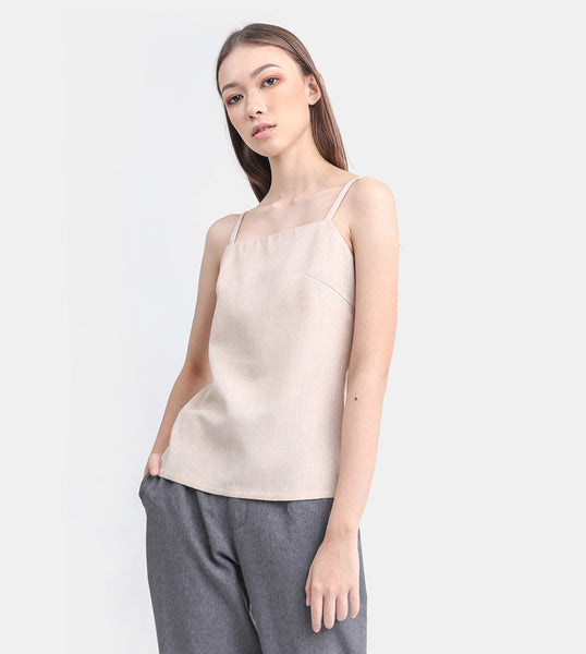 The Linen Square Neck Top (Beige)