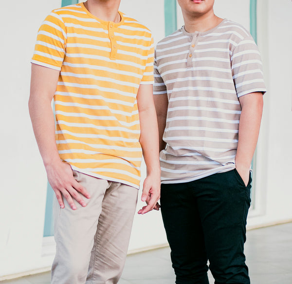 Essential Blend Striped Henley Tee (Khaki)