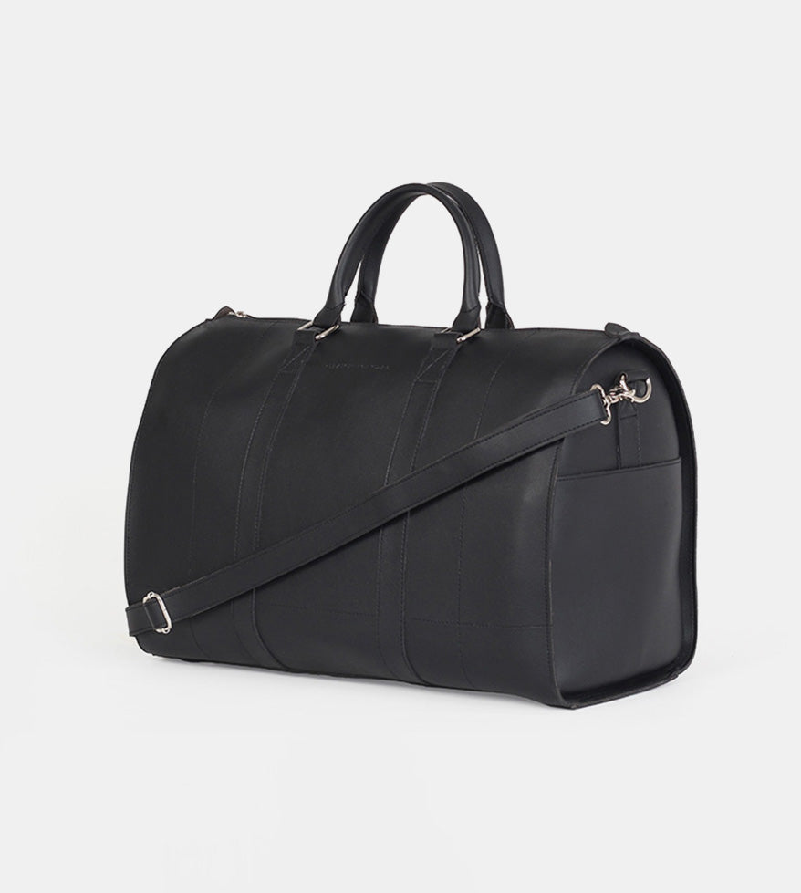 Leather Duffel Bag (Black) - Diagonal